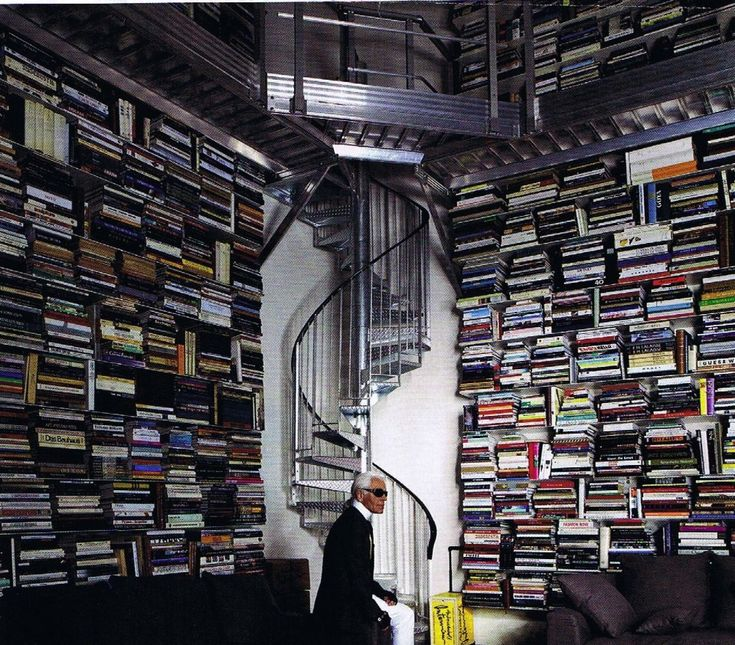 Karl Lagerfeld's bookshelf. He is making a perfume inspired by the smell of books! #PaperPassionPerfume