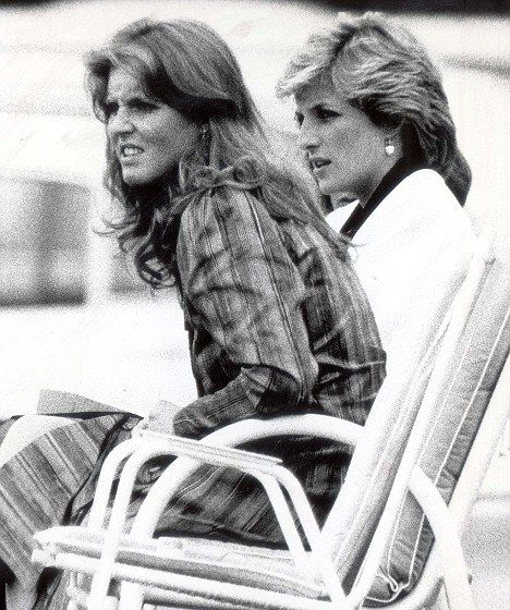 Sarah Ferguson watches polo at Windsor with Princess Diana, in 1985, the year before she married into the British Royal Family and became the Duchess of York. The two women were good friends for at least six years before Sarah married Andrew.