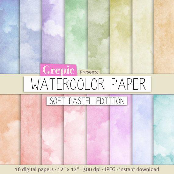 Watercolor digital paper soft pastel WATERCOLOR PAPER by Grepic, $4.80
