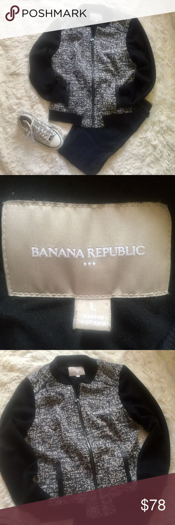 "Banana Republic Black Bomber Lace Detail Large Banana Republic black bomber jacket size large. In excellent condition! On trend Lace looking detail covers center of the jackets. Fully lined inside with extremely soft cotton. Faux leather detail on pockets. Measurements: 18"" pit to pit, 23"" length, 23.5"" sleeves. Reasonable offers always accepted. Banana Republic Jackets & Coats"