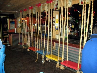 My favorite part about my day in Fort Collins, CO? The swinging bar stools at the Drunken Monkey.