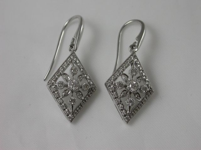 1920s style drop #earring - diamond -shaped  with Hook; pave set #diamonds 0.37 ct, with 9ct. white #gold  Price: $1495.00