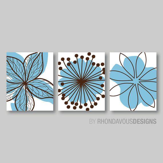 Blue Brown Bedroom Pictures Bathroom Artwork by RhondavousDesigns2