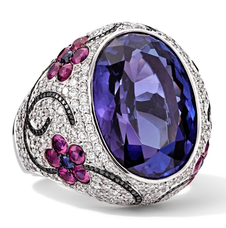 Rosendorff African Amethyst Collection Amethyst, Pink Tourmaline, White and Black Diamond Cocktail Ring