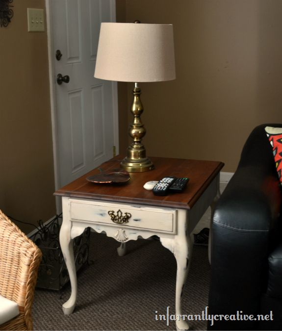 painted queen anne end tables | Spray Painted Antique White Table with Stained Top