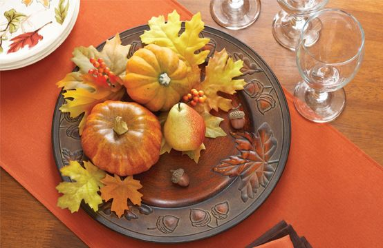 Antique Copper-Finish Charger Set your autumn theme with this versatile embossed charger. Layer it with your dinnerware for a seasonal place setting or use it for a centerpiece with pumpkins, leaves and fruits. $2.98