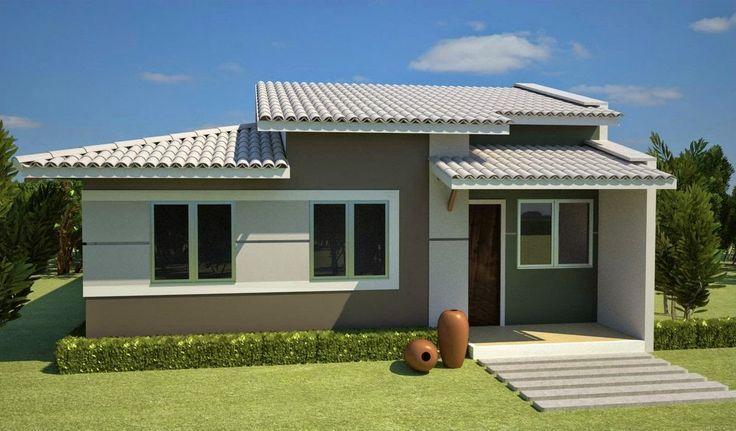 Imagenes de fachadas para casas pequeñas casa gris con alrededores verdes #fachadasmodernaschicas