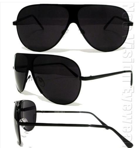 Turbo Style Aviator Sunglasses Super Dark Black