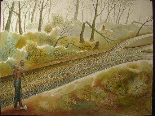 Vladimir Kush Paintings Woodcutter by vladimir kush