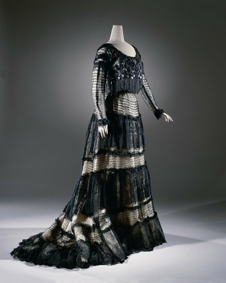 1903-1906, France - Dress by Lucien Andrain - Silk, metal, satin, sequins, velvet, lace