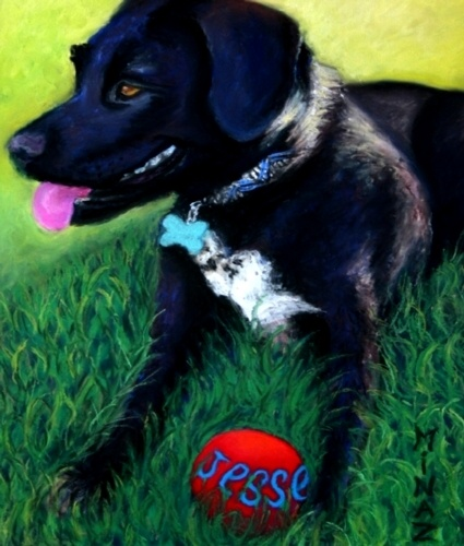 Minaz Jantz, 'Jesse Sayz THROW the Ball' pastel 11x9