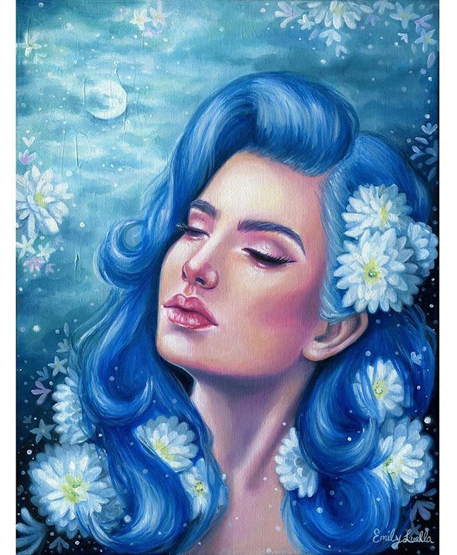"""""""Flora Luna""""  Oils on canvas 12"""" x 16"""" 💙💙💙 Original painting is available in my shop (link in bio) ✌"""