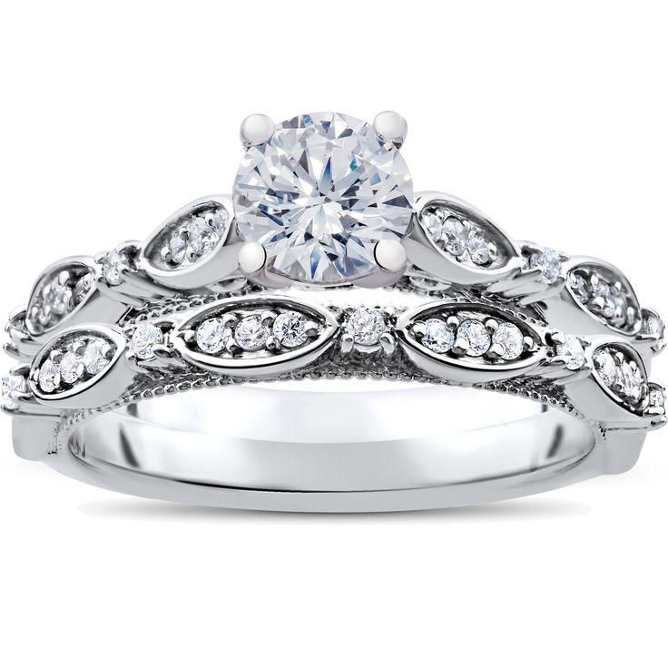 Bliss 14K White Gold 1 ct TDW Vintage Diamond Engagement Antique Wedding Matching Ring Set