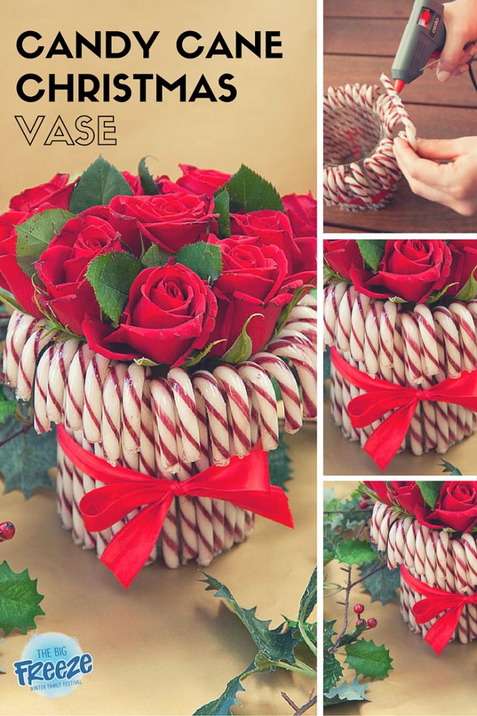 Candy Cane Christmas Vase by The Big Freeze - make a simple centrepiece for your Christmas table