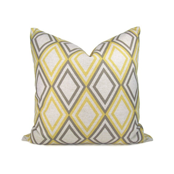 Gray and yellow pillow cover  Geometric print by ClassicByNature, $31.00