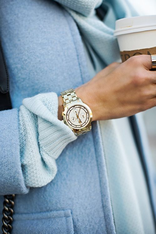 Pale blue coat. LOVE this color.  gold linked watch, ideal with pastel hues and combined textures