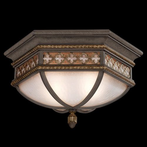 Chateau Outdoor Two-Light Outdoor Flush Mount in Variegated Rich Umber Patina Finish