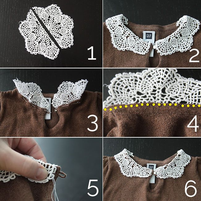 easy sewing tutorial for adding a cute doily collar to a girls sweater or shirt