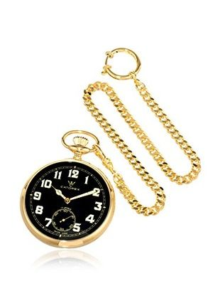 Catorex Men's 170.6.1810.321 Les Breuleux 18K Gold-Plated Pocket Watch, Black $688
