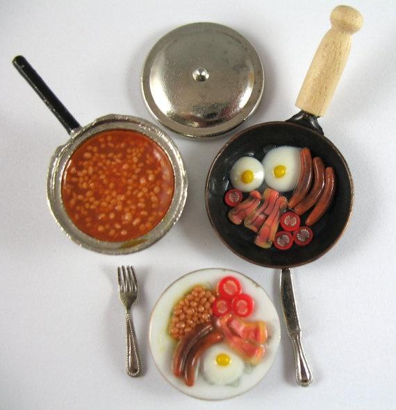 Dollhouse Miniature Food Fried Breakfast Set by littletimewasters,