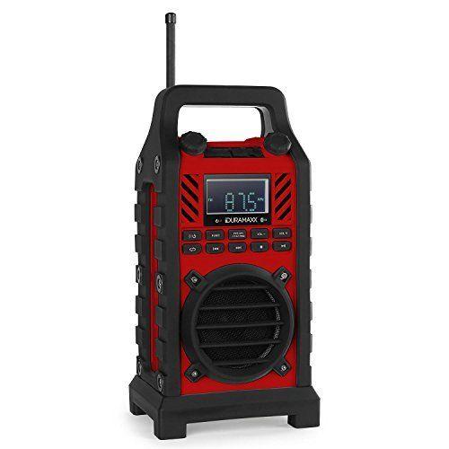 Duramaxx 862 – Radio de chantier Bluetooth, tuner AM/FM, lecteur USB SD MP3, entrée AUX et batterie intégrée (20 stations programmables,…