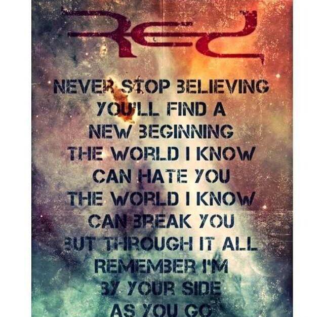 Red lyrics..Yup Christian Metal band..lol..Love em..