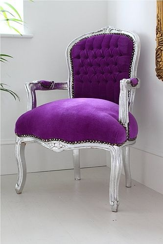 regal violet tushy lushnessLiving Room Decor, Chic Offices, Louis Armchairs, Interiors, Purple Chairs, Bedrooms Furniture, Purple Louis, Living Room Furniture, Silver Frames