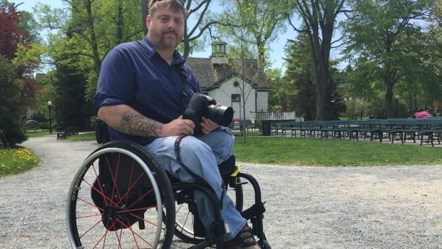 Paul Vienneau in his new wheelchair at the Halifax Public Gardens in May.