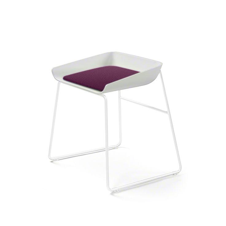 Scoop Low Stool, Purple Seat, White Frame