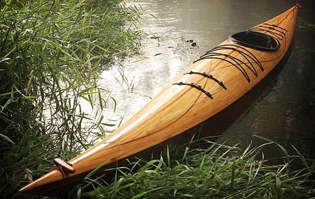 I would love to have my own kayak someday. This beauty is made of cedar strip wood.