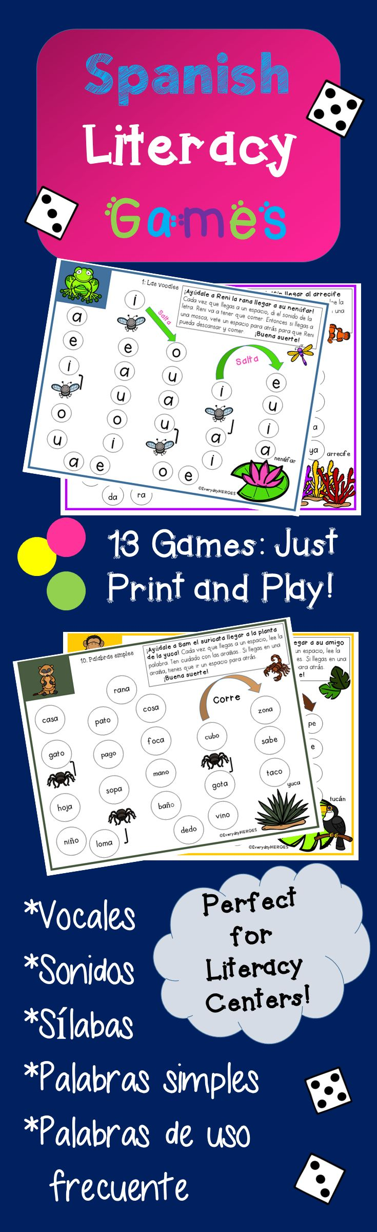 These 13 games will jazz up your students to learn to read in Spanish! They build beginning with vocales, then sonidos, then sílabas, then palabras simples and finish with a few games of palabras de uso frecuente taken from ENIL (nivel 1v - 1 verde). My kids were begging to play them everyday last year. I hope your students enjoy them as well!