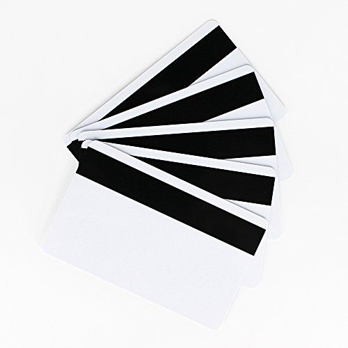 CR80 30Mil Blank White PVC Plastic Credit, Gift, Photo ID Badge Cards With Black LoCo 300oe Magnetic Stripe (Pack of 100Pcs)  PVC Card with LoCo I, II, III Track Magnetic Stripe.  Card size: Standard CR80 - 30Mil(Credit Card) Size.  Low Coercivity Magnetic Stripe.  100 pieces in 1 box, each card packed with a clear protective foil.  Graphics quality PVC cards for most desktop photo ID card printers like DataCard, Zebra, Fargo, Evolis, Magicard, NBS & etc. (these cards are not for inkje...