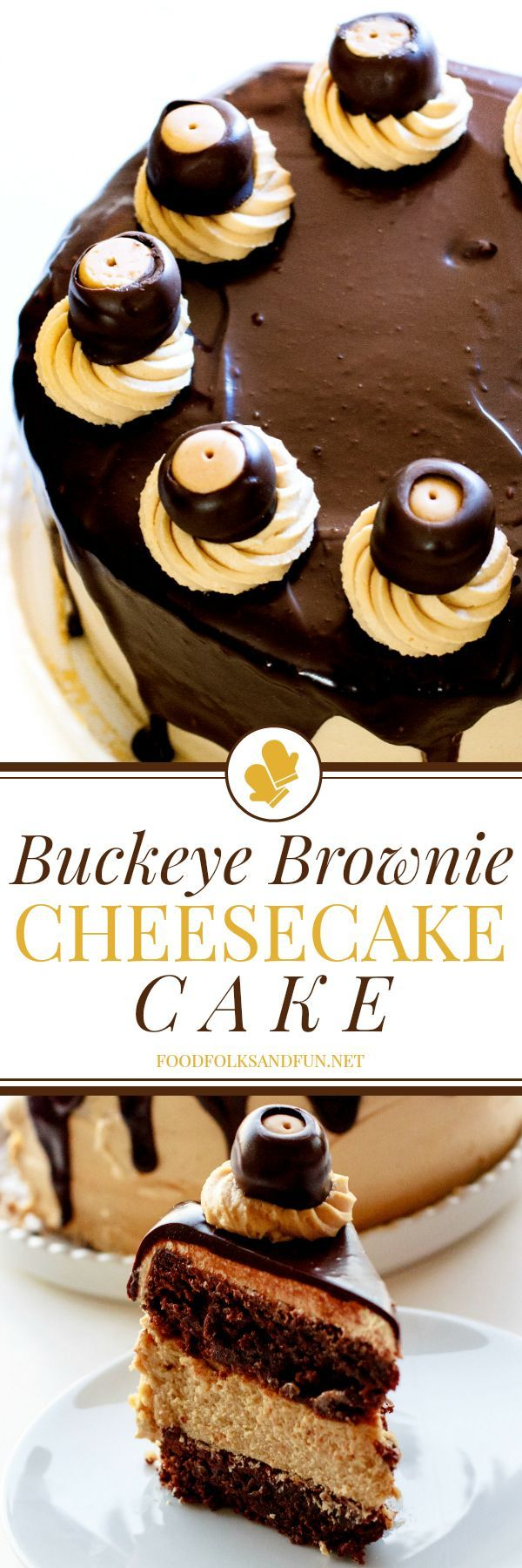 This cheesecake cake has 2 layers of fudgy brownies, 1 layer of luscious peanut butter cheesecake, fluffy peanut butter frosting, silky-smooth chocolate ganache, and luscious buckeye confections. All of these elements make this Buckeye Brownie Cheesecake Cake simply irresistible!