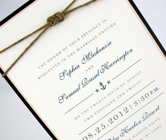 Wedding Invitation Nautical & Ocean by JacquelineAnnInvites, $6.50