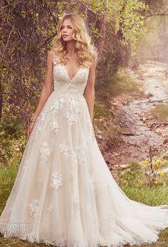 maggie sottero spring 2017 bridal sleeveless lace strap deep v neck heavily embellished bodice romantic a line wedding dress low back chapel train (meryl) mv
