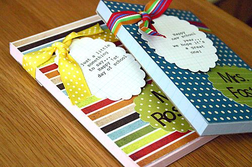 First days of school gifts...post-it notebooks decorated and with a magnet on the back.