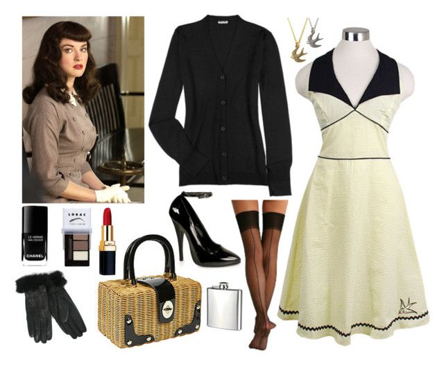 """""""Bettie Bangs"""" by dagny ❤ liked on Polyvore featuring Kate Spade, Chanel, Retrò, Miu Miu, Morgan, Berkshire, LORAC, H.I.P., bettie page and rockabilly"""