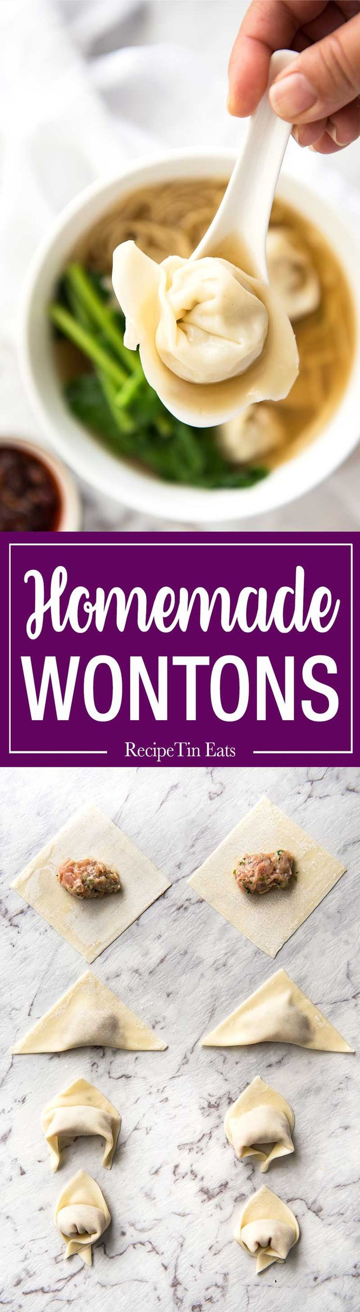 Homemade wontons filled with a juicy pork and shrimp / prawn filling! With my step by step photos and 2 little tips, these are really easy and fast to make loads of them.