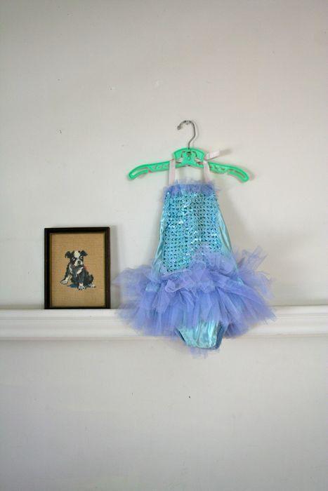 vintage girls dance costume  BLUE FAIRY sequin leotard / by MsTips, $20.00