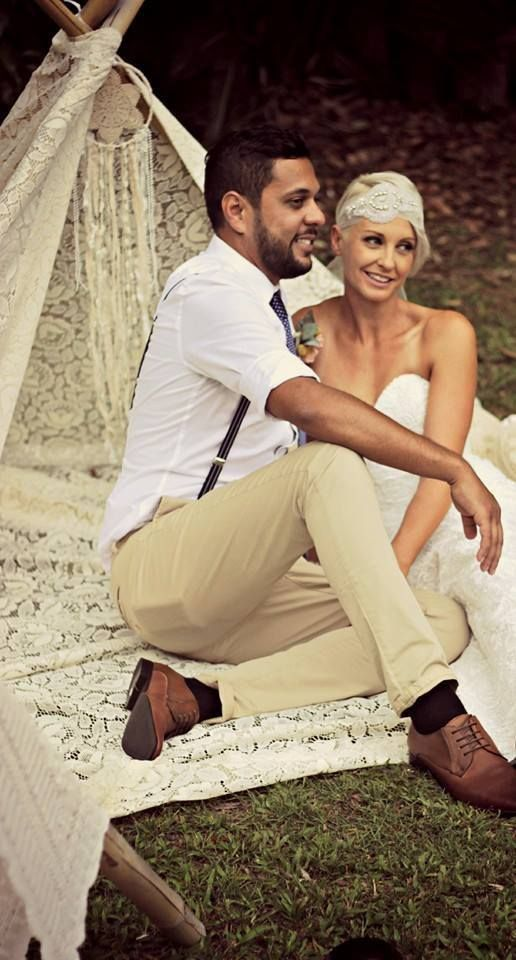 The lace tee pee paired with our lace picnic rug while the stunning bride dons a hint of lace glamour.