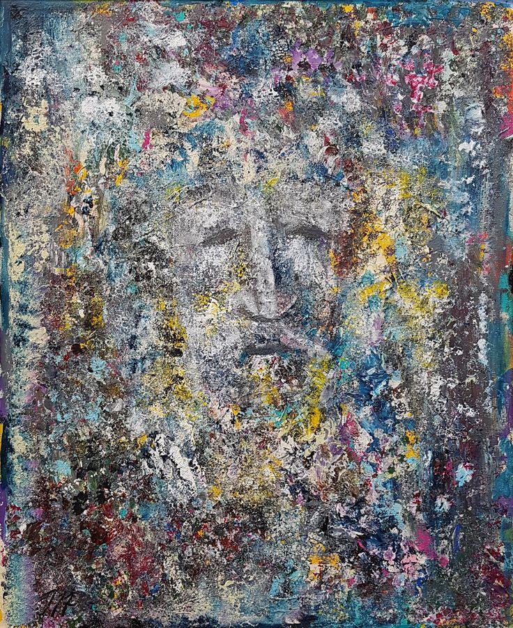 Maaliskuussa Itäisenkadun Kehystämön Ikkunagalleriassa Jöran Oscar Sumeliuksen (Jospaintings) abstarkteja maalauksia.  Kuva: Jöran Oscar Sumelius. Ancestor.  #turku #abstractpainting