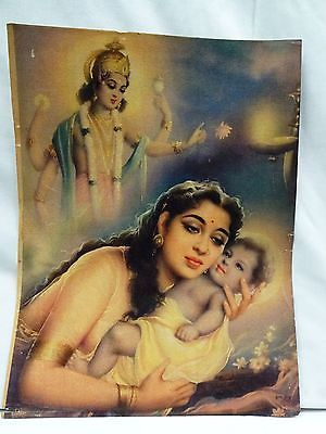 Old Lord Baby Krishna And His Mother Yashoda Vintage Lithograph Print Genuine