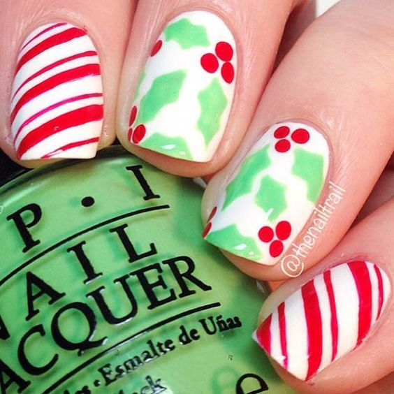 Holly & Candy Cane Nails: