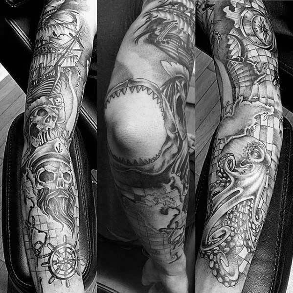 Mens Shaded Black And Grey Nautical Sleeve Tattoo Ideas Nautical Sleeve Sleeve Tattoos Tattoo Sleeve Men