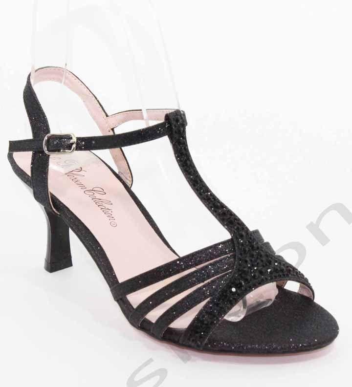 Black Sparkle Shoes Kitten Heel