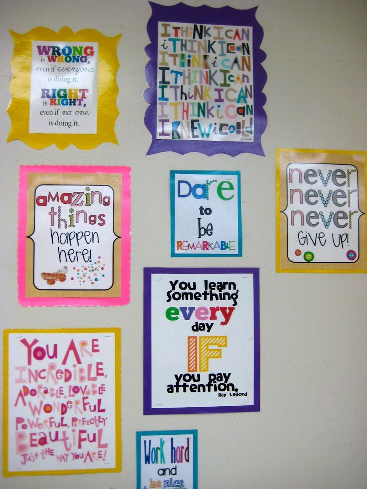 Inspirational classroom wall quotes  I'll have my daughter make these for her classroom