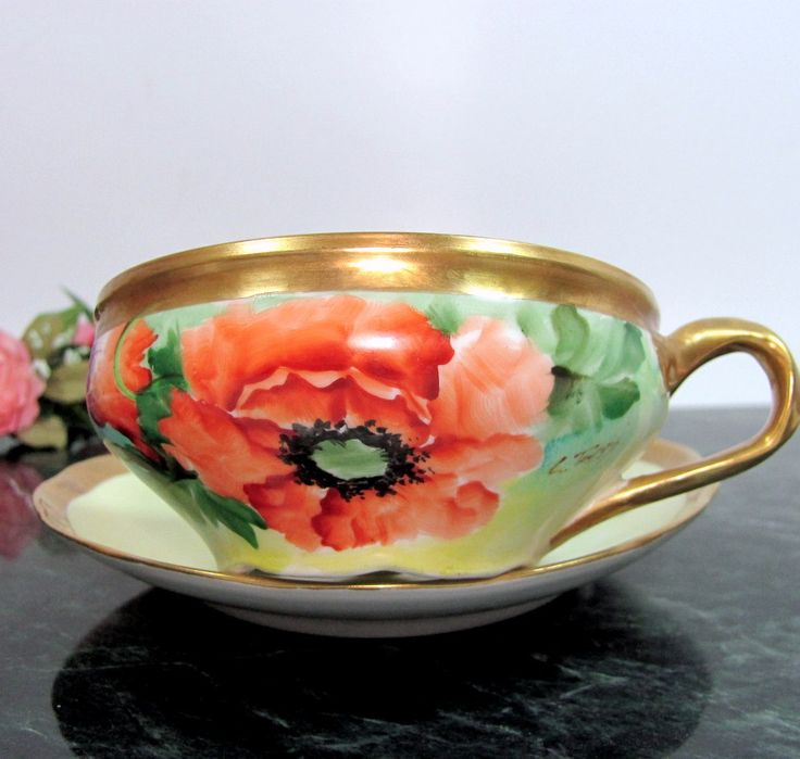 1800's RICHARD GINORI POPPY Cup & Saucer Hand Painted Artist Signed Antique