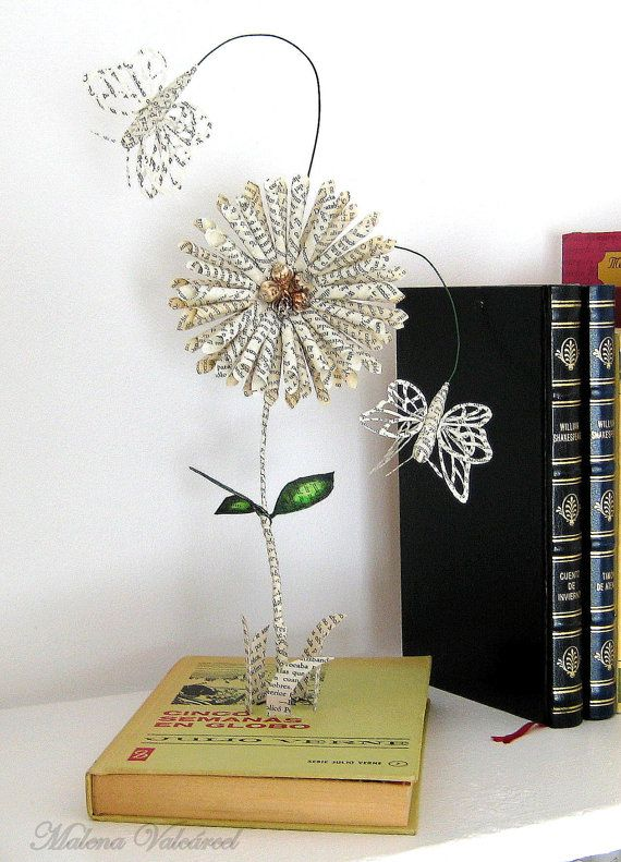 Book Sculpture - Paper Art - Altered Book - Flowers in my garden