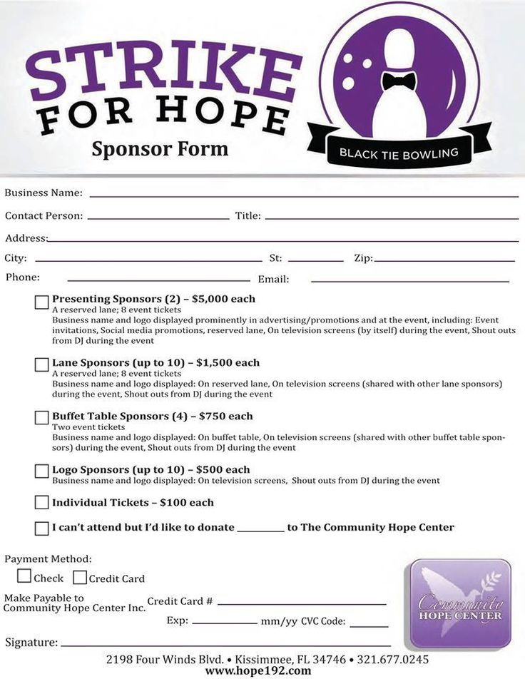 Would you, your business or group like to be a sponsor for our upcoming Strike for Hope - Black Tie Bowling Fundraiser at Splitsville - Disney Springs?   If so, feel free to print and return this sponsor package sheet or you can complete your sponsorship online here! https://commpreschurch.webconnex.com/Strike  #hope192