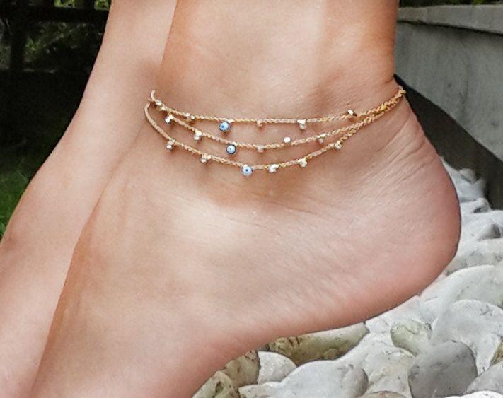 Tiny Evil Eyes Triple Gold Chain Anklet, Anklet, anklet bracelet, gold anklet bracelet, summer jewelry, Gold Tone Anklet, Gift under 20 by mysticdukkan on Etsy